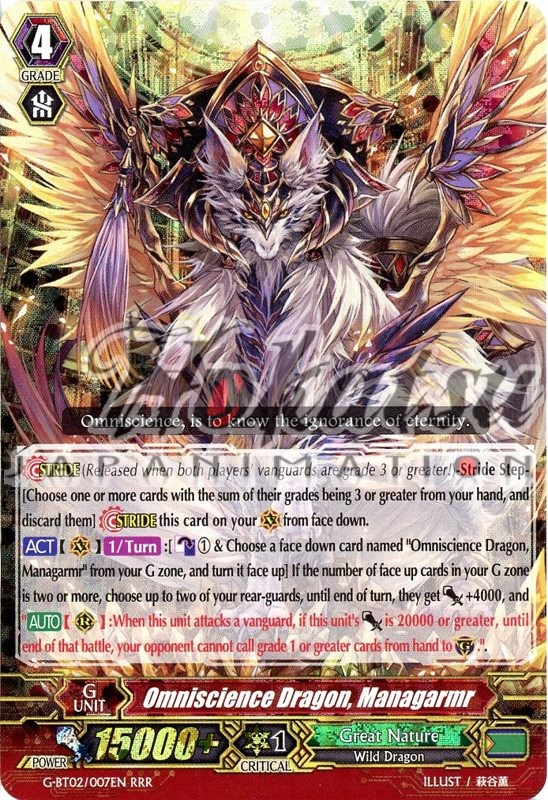 Managarmr Cardfight Vanguard Japanese G-BT02//007 RRR Omniscience Dragon