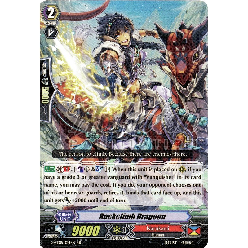 Cardfight 1x G-BT05//014EN RR Rockclimb Dragoon