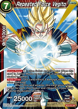 Purchase Bt2 012 Sr Repeated Force Vegito Dbs B02union Force Dragon Ball Super Cartajouer