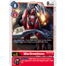 BT2-017 R WarGrowlmon Digimon